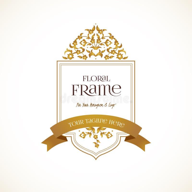 Золотой шаблон логотипа вектора, богато украшенная рамка бесплатная иллюстрация
