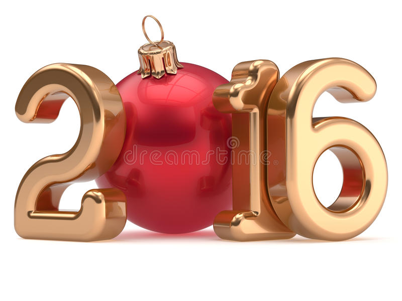 Золото 2016 безделушки Xmas счастливого шарика рождества Нового Года веселое иллюстрация вектора