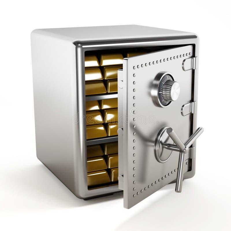Золото внутри стального сейфа иллюстрация штока