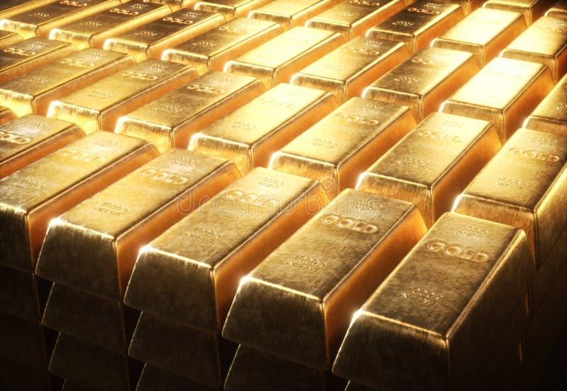 Золото в слитках 1000 граммов стоковые изображения