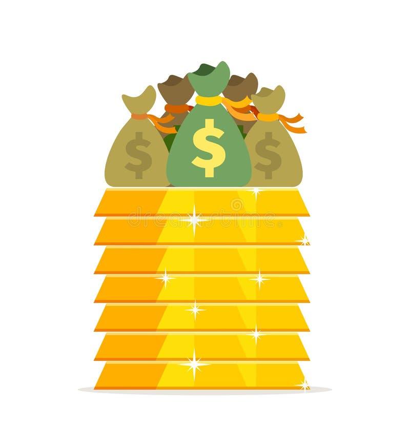 Золото в слитках и сумки денег конструируют плоско иллюстрация штока
