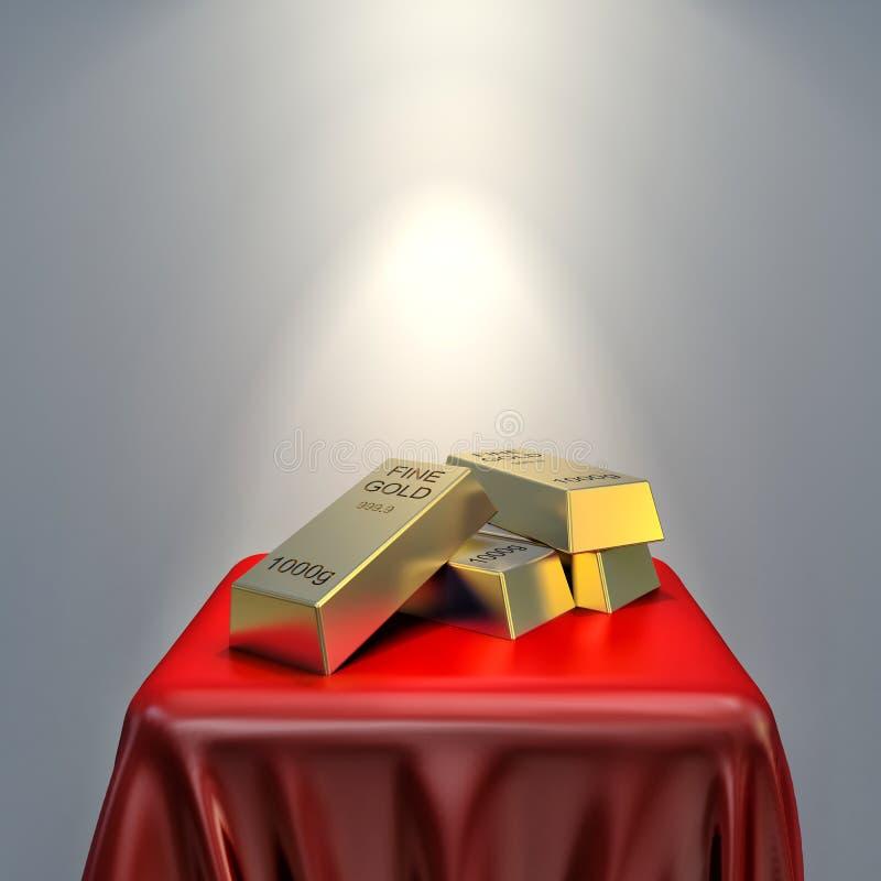 Золото в слитках на красной ткани иллюстрация вектора