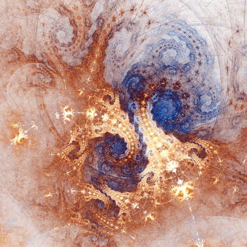 Золото и голубые свирли clockwork фрактали иллюстрация вектора