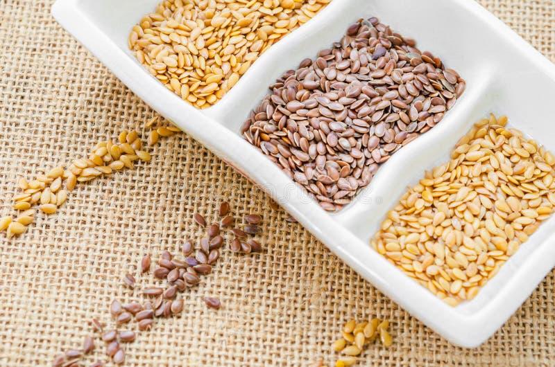 Золото и коричневые льняные семена или семена льна стоковая фотография