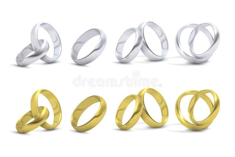 Золото и серебряная свадьба, обручальные кольца изолированные на белой иллюстрации вектора иллюстрация штока