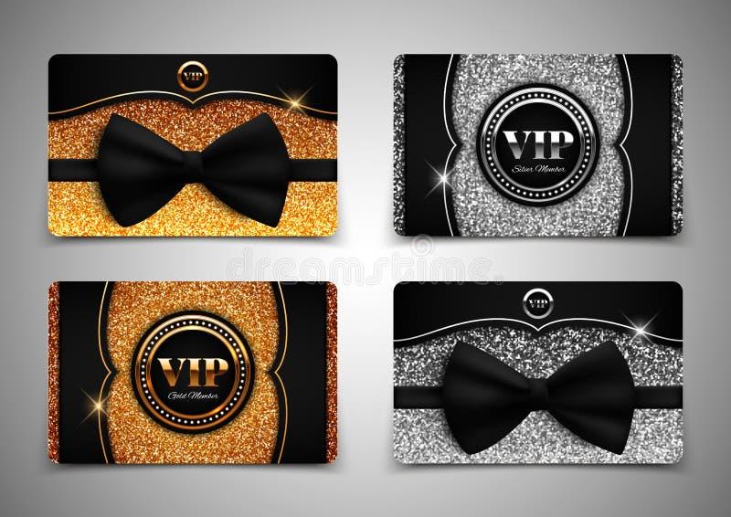 Золото и серебряные карточки VIP, подарок, ваучер, сертификат, иллюстрация вектора иллюстрация вектора