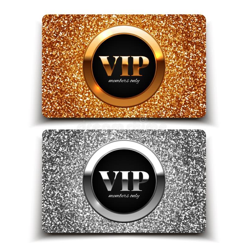 Золото и серебряные карточки VIP с ярким блеском стоковые изображения rf