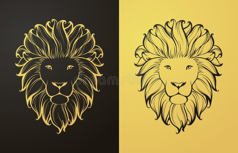 Золото и черный значок льва бесплатная иллюстрация
