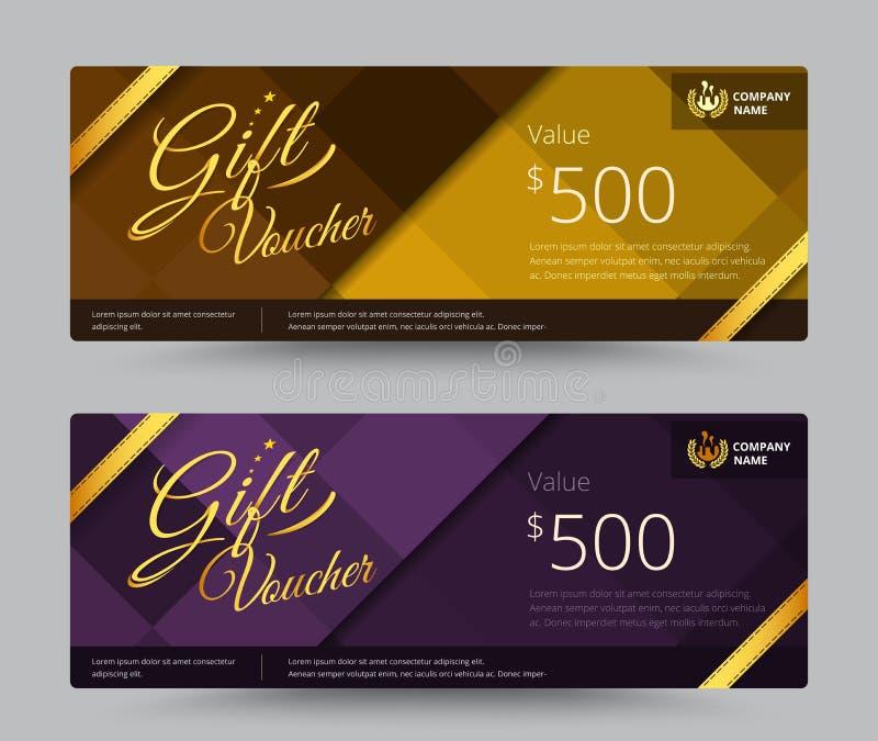 Золото подарочного сертификата и талона или фиолетовый комплект цвета включите образец иллюстрация вектора