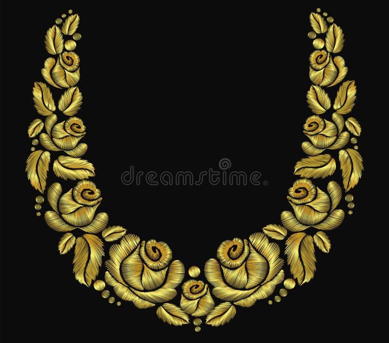 Золото розового luxery орнамента ожерелья цветка вышивки винтажное ретро иллюстрация вектора