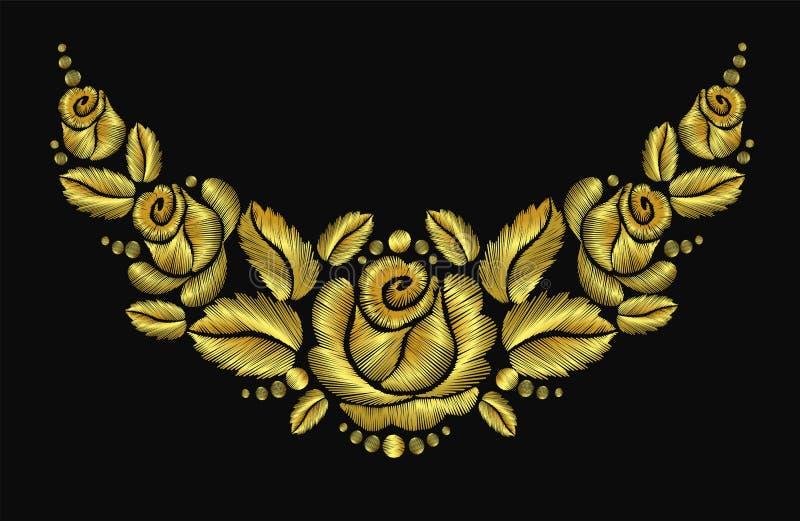 Золото розового luxery орнамента ожерелья цветка вышивки винтажное ретро бесплатная иллюстрация