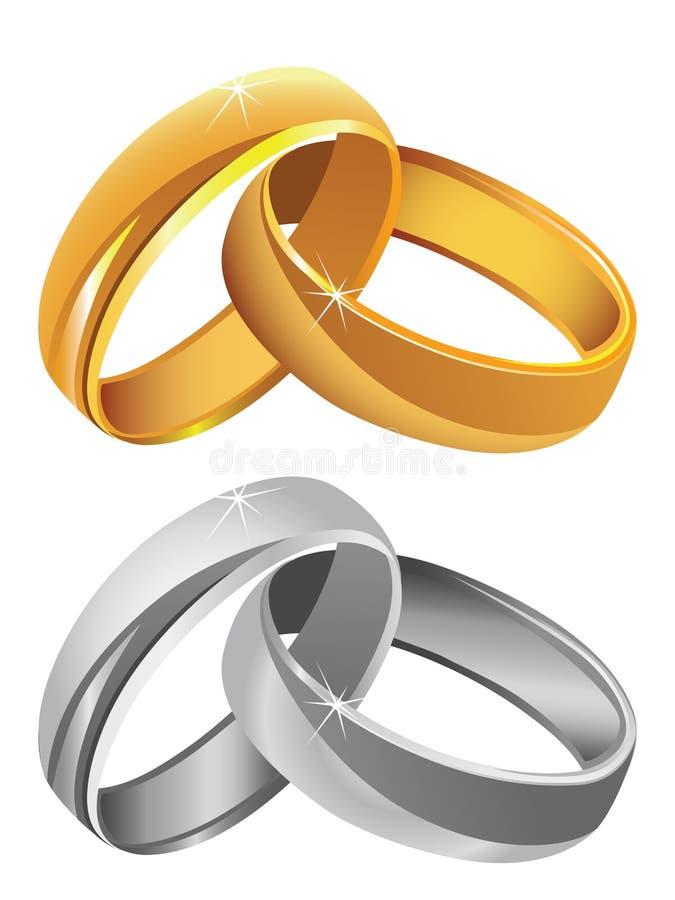 Золото & серебряные обручальные кольца иллюстрация штока