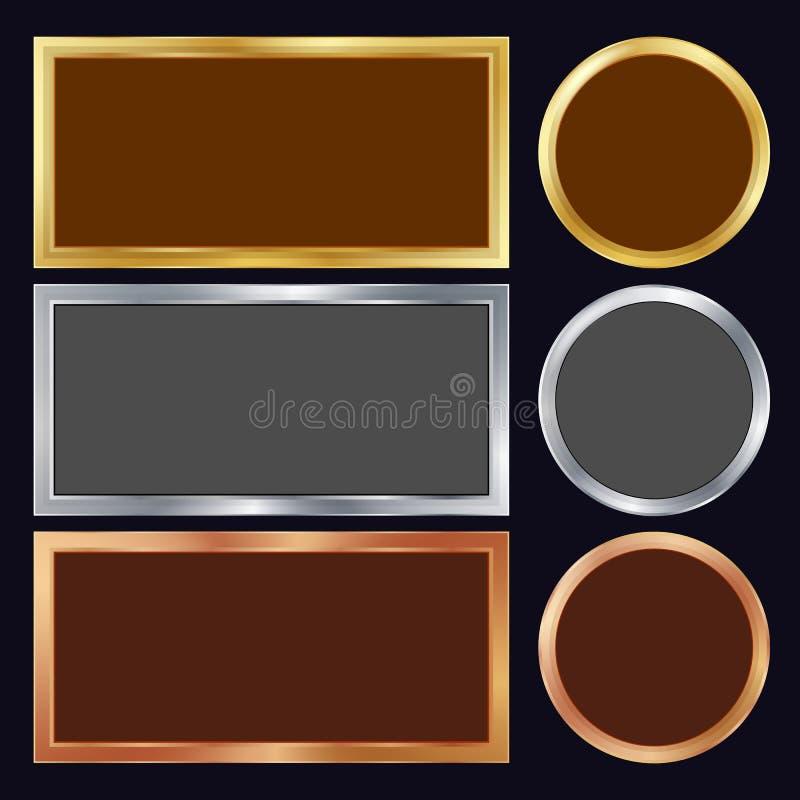 Золото, серебр, бронза, медный металл обрамляет вектор Прямоугольный, круглый Реалистическая металлическая иллюстрация плит иллюстрация вектора