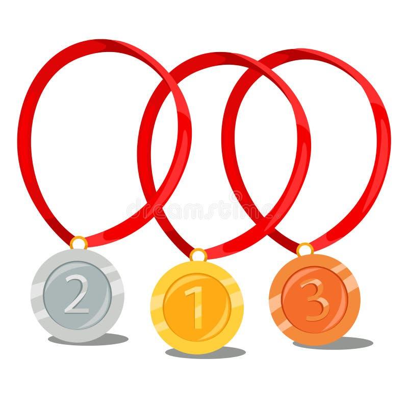 Золото, серебр, бронзовая медаль иллюстрация вектора