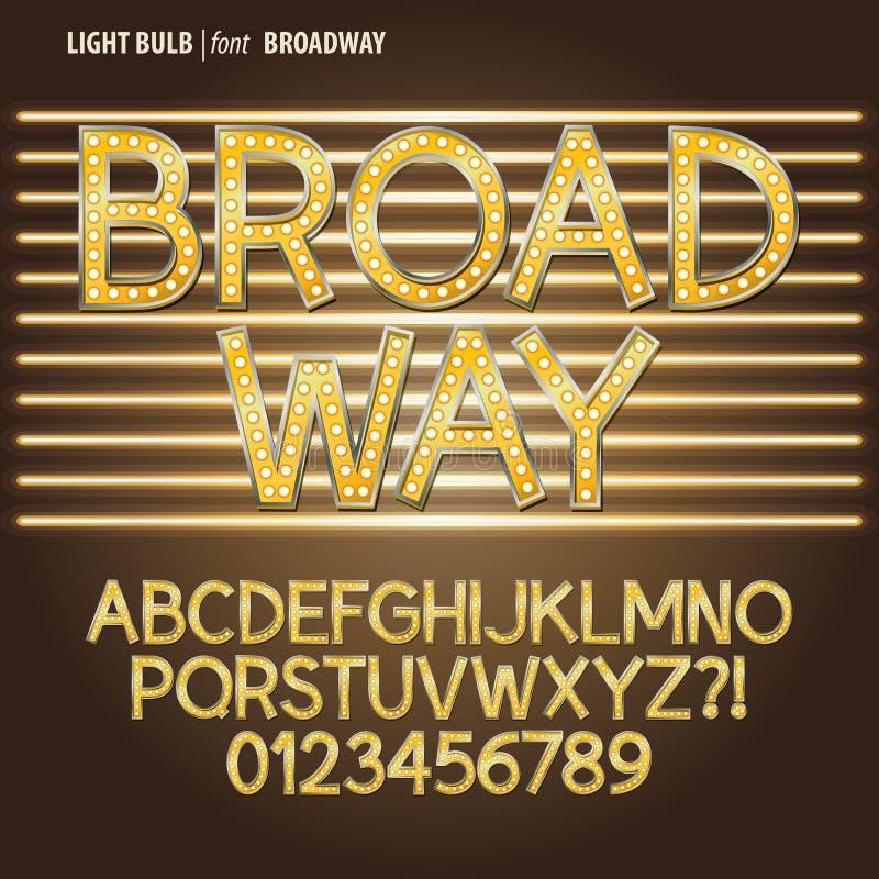 Золотые алфавит электрической лампочки Бродвей и число Vect иллюстрация вектора