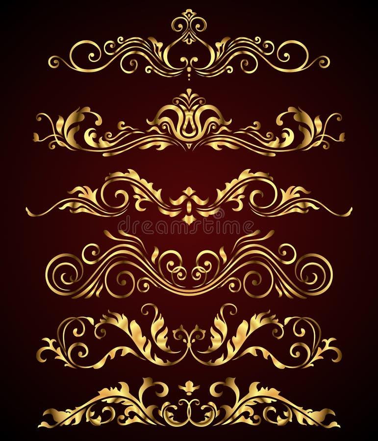 Золотые винтажные элементы и границы установили для богато украшенного украшения иллюстрация вектора