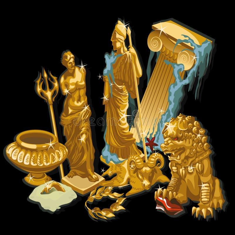 Золотые греческие символы, статуи людей иллюстрация вектора