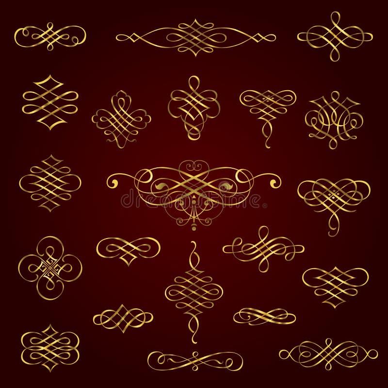 Золотые декоративные каллиграфические элементы дизайна - комплект вектора иллюстрация штока