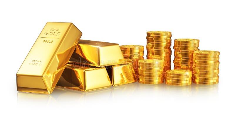 Золотые инготы и монетки бесплатная иллюстрация