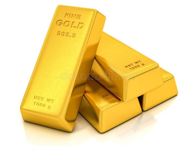 Золотые инготы иллюстрация штока