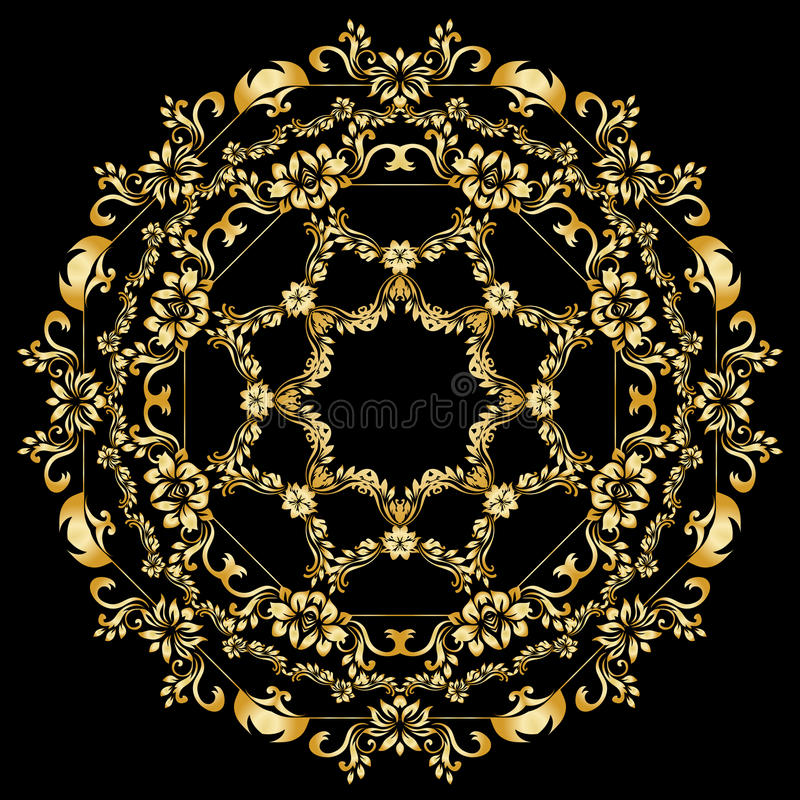 Золотые каллиграфические элементы дизайна вектора на черной предпосылке Граница меню и приглашения золота, круглая рамка, рассека иллюстрация штока