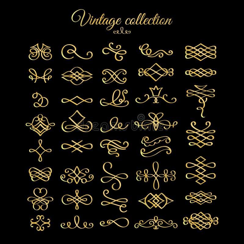 Золотые каллиграфические элементы дизайна эффектных демонстраций бесплатная иллюстрация