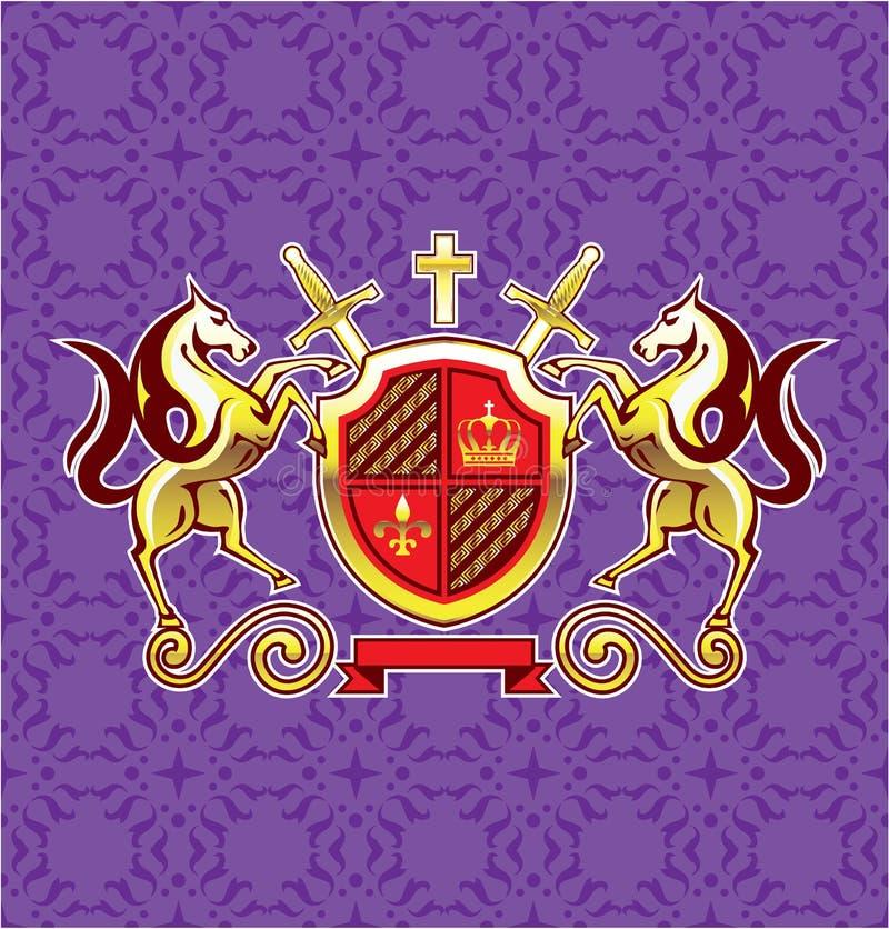 Золотые королевские лошади экран эмблемы и предпосылка пурпура искусства вектора шпаг бесплатная иллюстрация