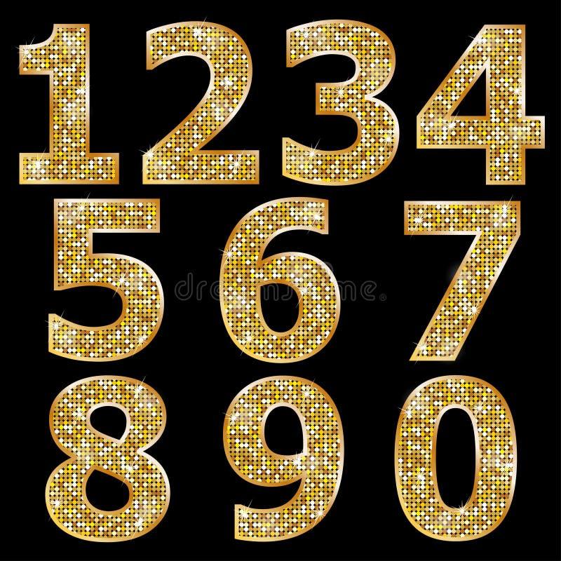 Золотые металлические сияющие номера иллюстрация штока