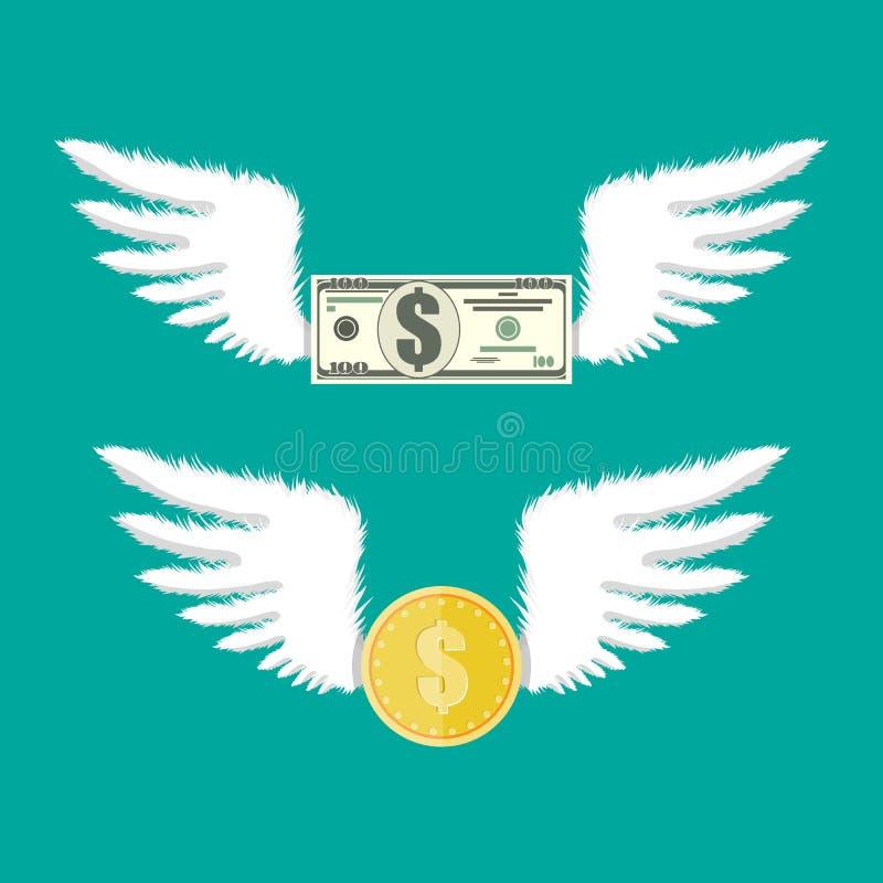 Золотые монетка и долларовая банкнота с крылами иллюстрация вектора