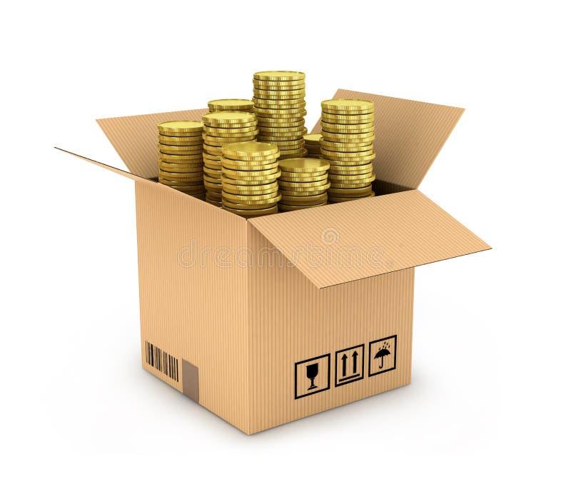 Золотые монетки в стоге в бортовой картонной коробке иллюстрация вектора