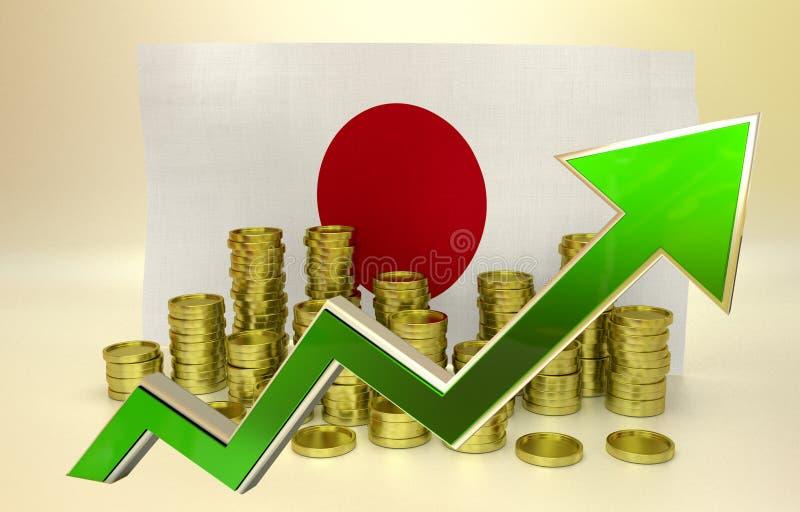 Золотые монетки и зеленый символ иен иллюстрация штока