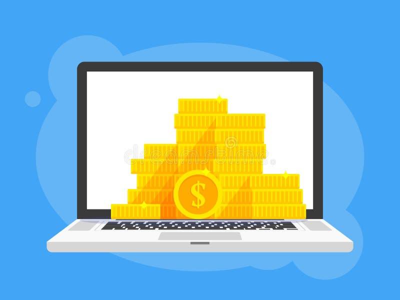 Золотые монетки штабелируют символ доллара в экране компьютер-книжки компьтер-книжки Иллюстрация вектора шаржа кучи денег иллюстрация вектора
