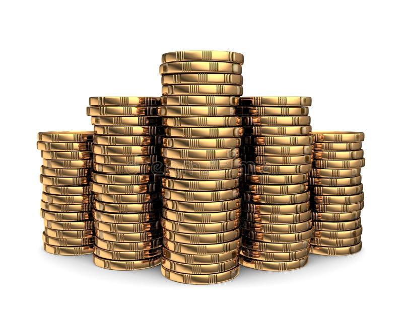 Золотые монетки иллюстрация вектора