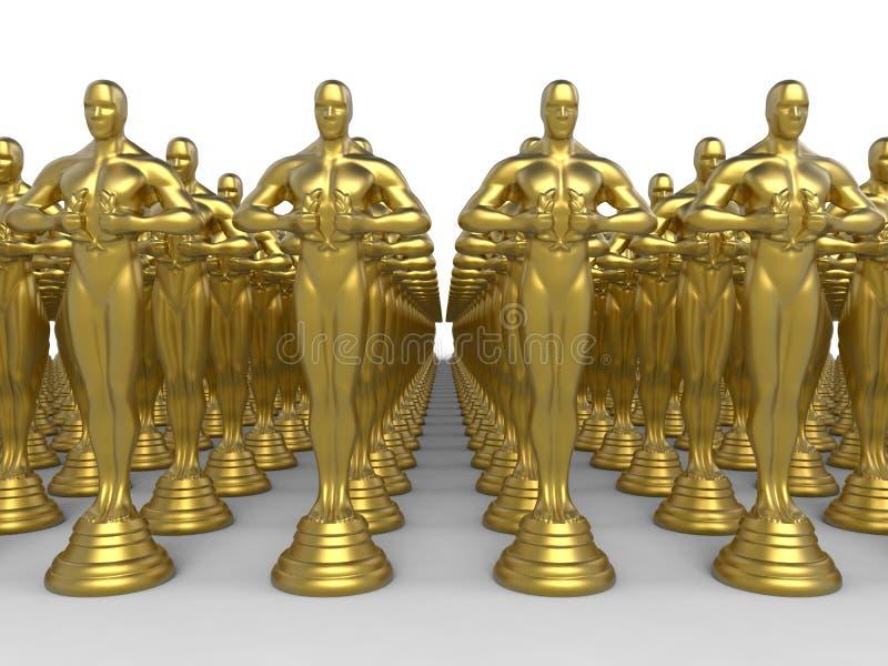 Золотые награды статуэтки дипломатии иллюстрация вектора