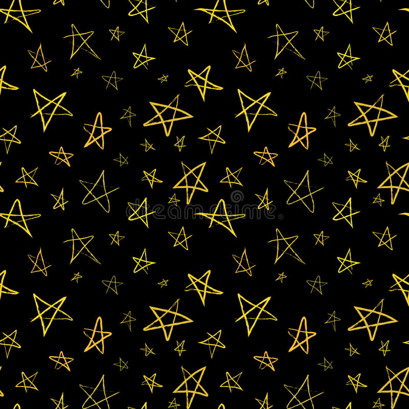 Золотые нарисованные вручную звезды на ночном небе, безшовной картине иллюстрация штока