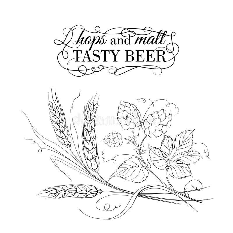 Золотые пшеница и хмель на sepia иллюстрация вектора