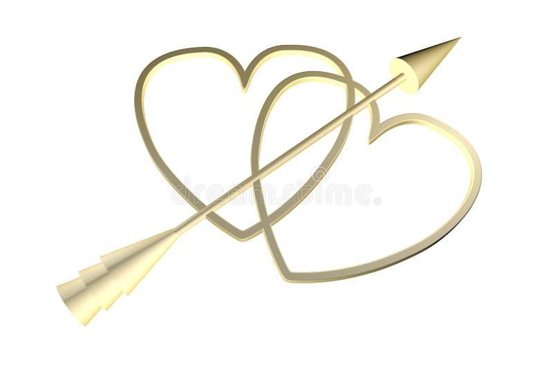 Золотые сердца с стрелкой купидона бесплатная иллюстрация
