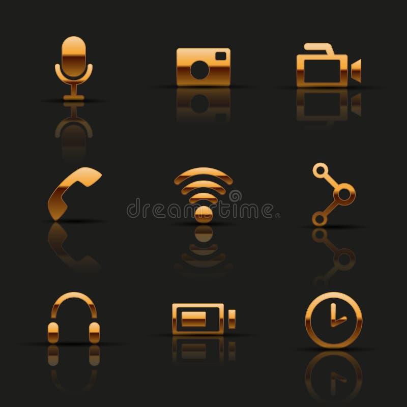 Золотые установленные значки сети иллюстрация вектора