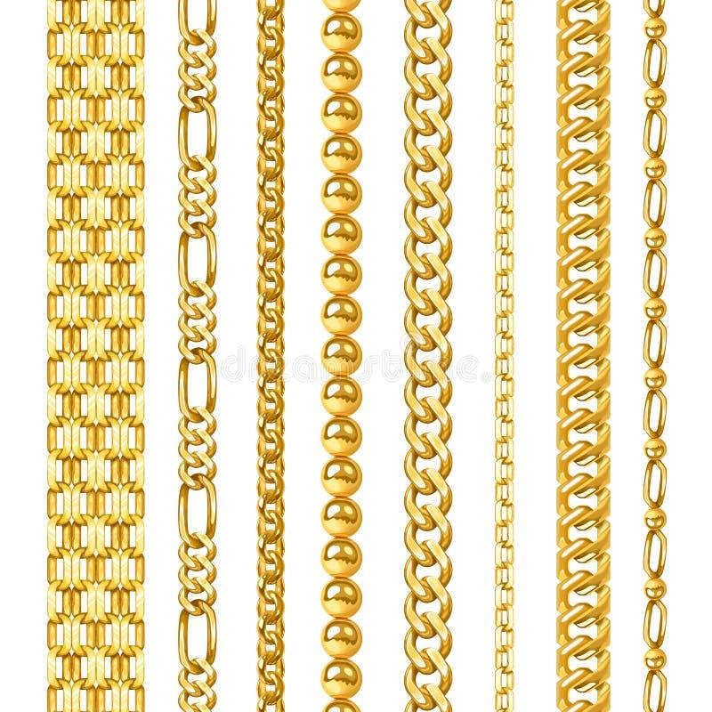 Золотые установленные цепи иллюстрация вектора