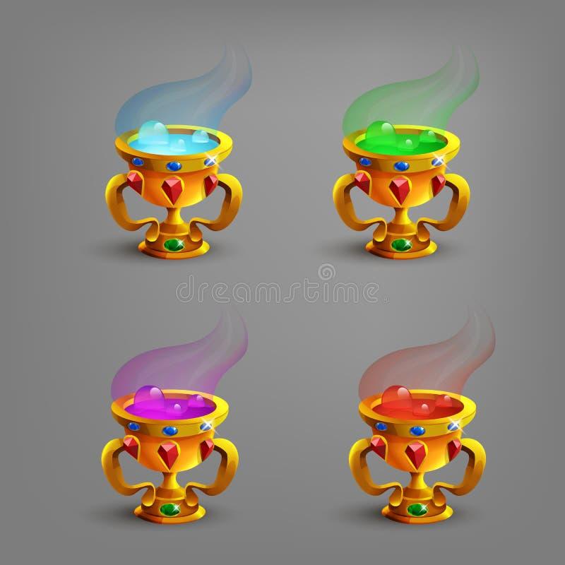 Золотые чашки или кубки с голубой жидкостью иллюстрация штока