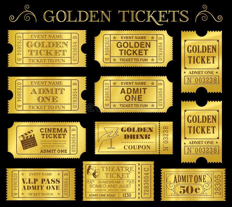 Золотые шаблоны билета вектора бесплатная иллюстрация