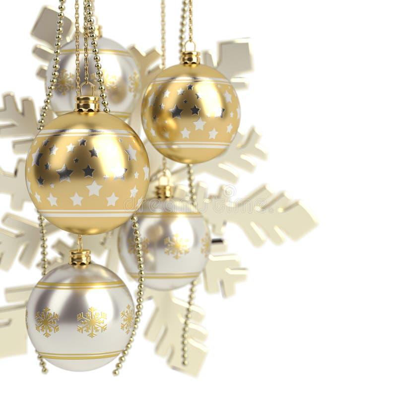 Золотые шарики рождества изолированные на белой предпосылке 3d представляют иллюстрация вектора