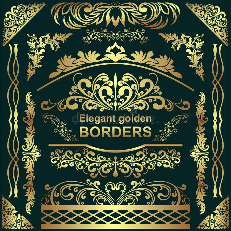 Золотые элегантные границы, элементы дизайна - большой комплект для вашего дизайна иллюстрация штока