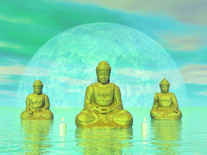 Золотые buddhas - 3D представляют бесплатная иллюстрация