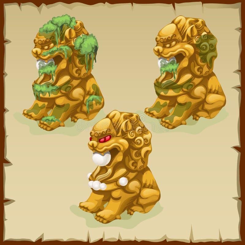 3 золотых статуи очищенного льва пакостного и иллюстрация вектора