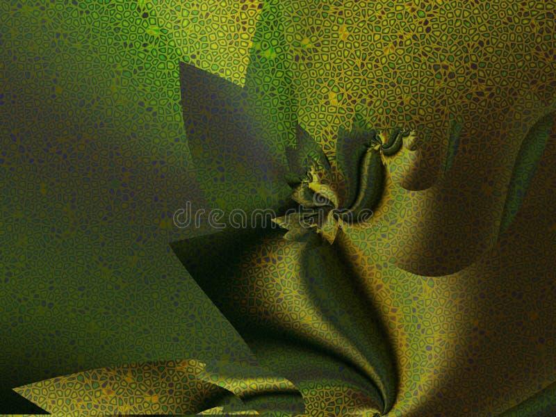 Золот-зеленые створки silk ткани иллюстрация штока