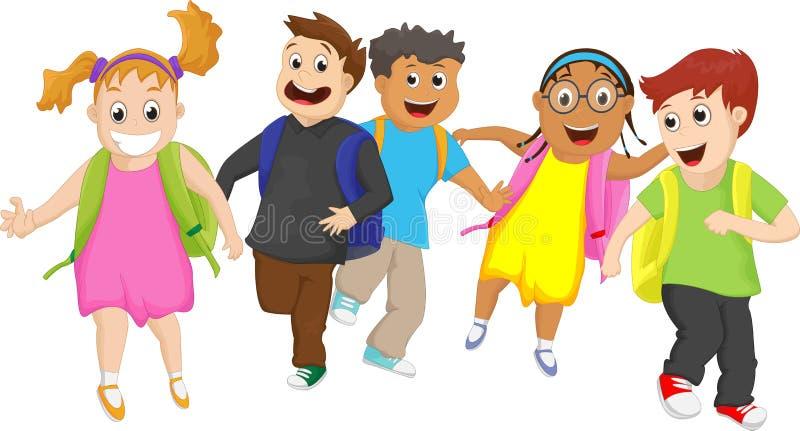Зрачки начальной школы бежать снаружи совместно иллюстрация штока