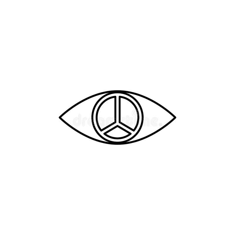 зрачок значка знака мира Элемент значка мира для передвижных apps концепции и сети Тонкая линия зрачок значка знака мира может бы иллюстрация вектора