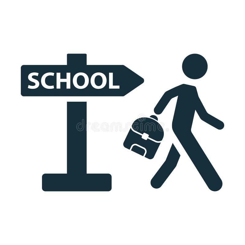 Зрачок школьника идя к значку указателя школы иллюстрация вектора