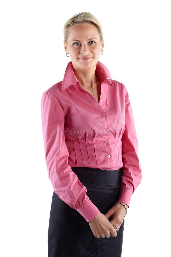 Зрелая бизнес-леди Съемка студии, подрезанная средний-бедренная кость, изолированная на белизне стоковое фото
